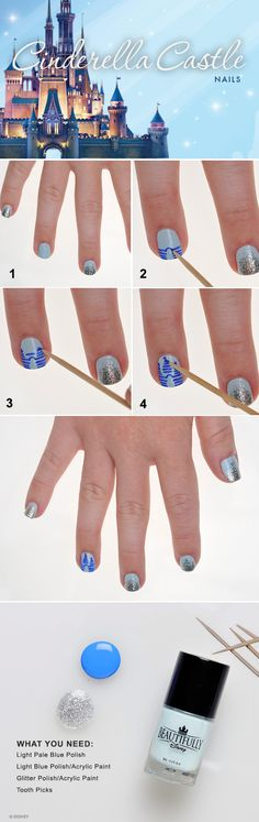 DIY Cinderella Castle Nails...yeah, like it is just that easy!?!? (Not a direct link)