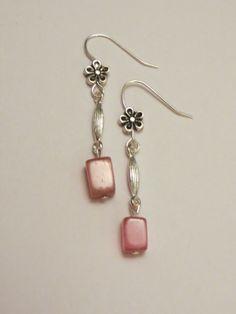 Sweet floral dangle earrings with silver by MyCreativeSideJewels, $6.00