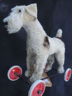 RARE ANTIQUE STEIFF DOG FOX TERRIER ON WHEELS 1950s MOHAIR FUR w VOICE