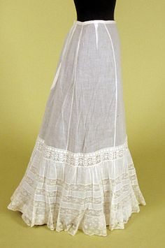 White cotton and lace petticoat, ca. 1900 (Tasha Tudor Collection) -- Martha, there are a few more petticoats from this date in the gallery, too. Worth checking out for your purposes!