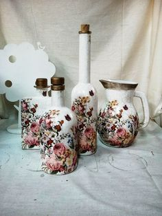 decoupage glass bottles with cracle