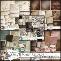 Family Records Generations Collection BUNDLE OFFER on sale for $17.21, it includes:  FR Generations - Base ScrapKit FR Generations - Journaling Pack FR Generations - Old Papers FR Generations - Rose Add-On FR Generations - Seafoam Add-On