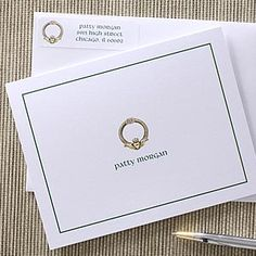 Love this personalized stationary with a Golden Claddaugh - after all, everyone loves an Irish girl!