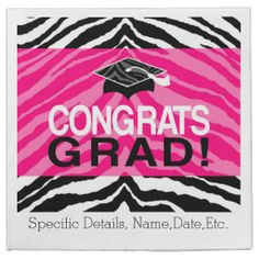Personalized Pink Black Zebra Graduation Party Disposable Paper Napkins. #classof2014 #graduation #gradparty @Zazzle Inc.
