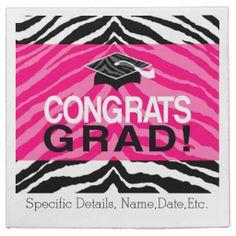 Personalized Pink Black Zebra Graduation Party Disposable Paper Napkins. #classof2014 #graduation #gradparty @Zazzle Inc.