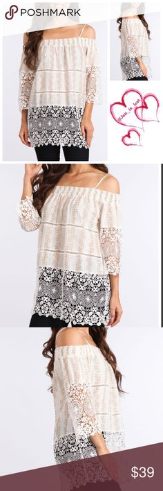 Lace Tunic Floral print 3/4 sleeve relaxed fit off the shoulder tunic with crochet lace trim.  Fabric:  Content: 65% COTTON, 35% LINEN.  Color is taupe. Tops