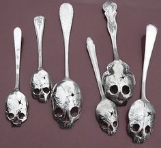 """Spull skoons: They're made from vintage silver by Tom Sale, aka Pinky Diablo, and are available in both tea- and table-skoon sizes. Of course, the numerous holes limit their utility as soup spoons, but they look pretty rad stirrers. Also, if the teeth were made a bit sharper they could double as tines, and it would become a """"skull spork"""". These would make a fab housewarming gift for anyone """"who has it all"""". I want one or two to enjoy with my Sunday morning coffee/tea.     Silver Skull…"""
