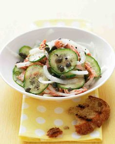 Dress thin slices of cucumber, sweet Vidalia onion, capers, and roasted salmon with a honey-and-sherry-vinegar dressing. Serve this salad with grilled country bread for a light meal.