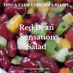 """Red Bean Sensation Salad: Red Bean Sensation Salad: In Louisiana, red beans are a common staple, and when married to the sensation salad dressing of the south, this dish is a paleo """"cheat' for me because it is that good! The dressing is not canine friendly, so the pups get their serving before I add the dressing."""