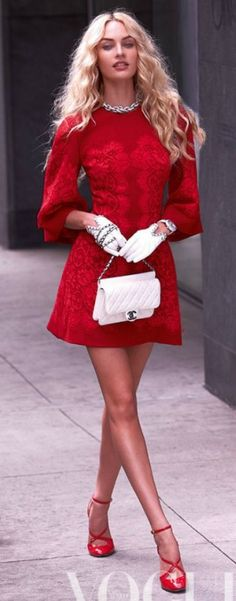 Shop this look on Lookastic:  http://lookastic.com/women/looks/necklace-party-dress-gloves-watch-crossbody-bag-pumps/6639  — Silver Necklace  — Red Lace Party Dress  — White Leather Gloves  — White Watch  — White Quilted Leather Crossbody Bag  — Red Leather Pumps
