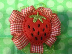 Felt hair clip strawberry cutie Valentines by oneofakindkeepsakes