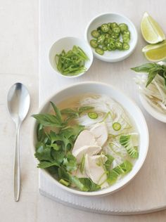 Here, chicken and vegetables are cooked in a clear, spice-infused broth. Served with herbs and bean sprouts, it's a refreshing one-dish meal; nibble on sliced cucumbers sprinkled with salt and fres...