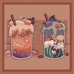 Cute Food Drawings, Cute Kawaii Drawings, Arte Do Kawaii, Kawaii Art, Aesthetic Art, Aesthetic Anime, Arte Copic, Posca Art, Cute Food Art