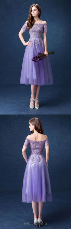 Purple Prom Dresses For Teens 2018, Lace Prom Dresses Short Sleeve, A-line Prom Dresses Off-the-shoulder, Tulle Prom Dresses Tea-length Appliques #dressforteenscasual #dressesforteens