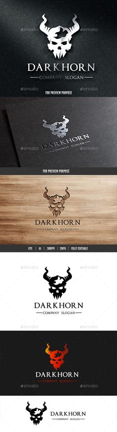 Dark Horn Skull Logo Template Vector EPS, AI. Download here: http://graphicriver.net/item/dark-horn-skull-logo/10819541?ref=ksioks