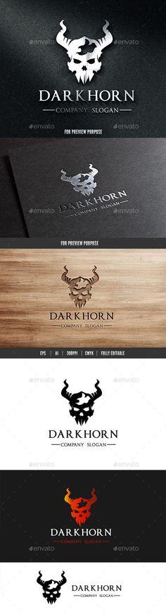 Dark Horn Skull Logo Template Vector EPS, AI. Download here: http://graphicriver.net/item/dark-horn-skull-logo/10819541?ref=ksioks
