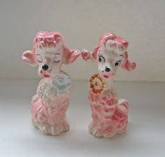 Vintage Pink Poodle Salt and Pepper Shakers.  Almost all kitchens had a collection of different S shakers