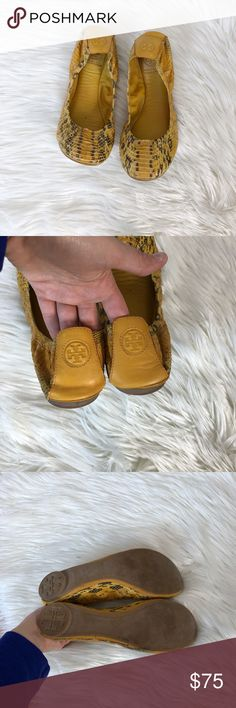 Tory Burch Yellow Leather Snake Print Flats Excellent condition with little to no wear and tons of life left. Same day/next day shipping. NO TRADES PLEASE Tory Burch Shoes Flats & Loafers