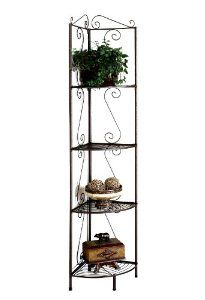 Monarch Specialties High Corner Display Tagre Shelf Unit 70 Inch Copper Metal By