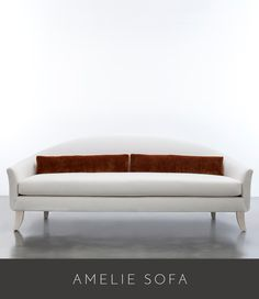 """AMELIE SOFA 96"""" LONG X 30"""" OVERALL DEPTH X 36"""" OVERALL HEIGHT SEAT DEPTH 18"""" (WITH PILLOWS) 22"""" (NO PILLOWS) SEAT HEIGHT 18"""" X 24"""" ARM HEIGHT AS SHOWN IN BAMBOO WHITE (SPA 08) WITH COM CONTRAST PILLOWS"""