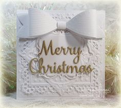 Our Daily Bread Designs Custom Dies: Layered Lacey Squares, Merry Christmas, Large Bow