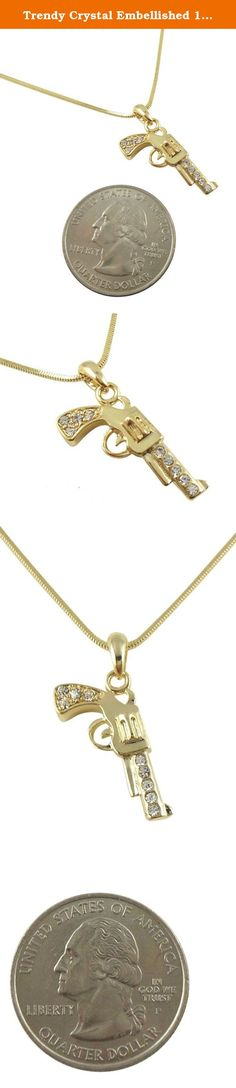"""Trendy Crystal Embellished 1"""" Gold Tone 3-D Handgun / Gun / Pistol Pendant and Necklace Fashion Jewelry. Jewelry by Glamour Girl Gifts products will arrive to you in either a gift box, organza jewelry bag, satin jewelry bag or velvet jewelry bag."""