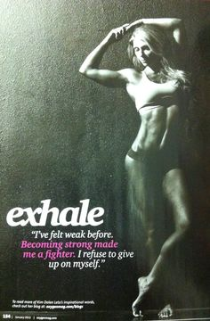"""from Oxygen magazine and Kim Dolan Leto: Exhale. """"I've felt weak before. Becoming strong made me a fighter. I refuse to give up on myself. Fitness Studio Motivation, Gym Motivation Quotes, Fitness Quotes, Fitness Tips, Workout Motivation, Workout Fitness, Elite Fitness, Body Fitness, Female Fitness"""