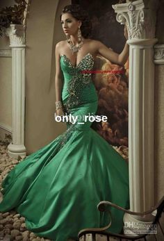 Only Rose2013 Babyonline Sexy Green Satin Mermaid Evening Dress Gown with Rhinestones Prom Dresses SI12019, $183.25 | DHgate.com