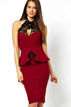 Red Peplum and High Neck Pencil Midi Dress
