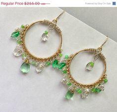 Gold Hoop Earrings Green Gemstone by DoolittleJewelry