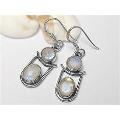 925 Sterling Silver Rainbow Moonstone Earrings