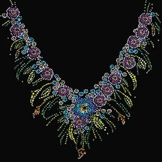 11x11  - COLORFUL NECKLACE (RHINESTONE/RHINESTUD) - flowers, neck treatment, necklace, rhinestones, Rhinestud, Necklines, Material Transfer, Necklines