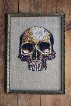 skull Embroidery art by Danielle Clough