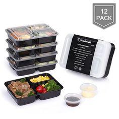 [Confezione da 12] Symbom Contenitori Alimenti Pranzo Lunch Box 3 Scomparti 1L con 6 Taze di Salsa, senza BPA, per Lavastoviglie, per il Congelatore, per il Microonde. Impilabile Riutilizzabili