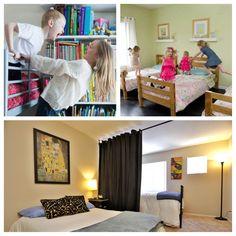 Room Divider Shelves, Hanging Room Dividers, Sliding Room Dividers, Room Divider Curtain, Sibling Bedroom, Girls Bedroom, Bedroom Wall, Space Up, Multipurpose Room