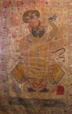A0467 Shrinathji Pichwai From Nathdwara, India Ca 75 Yrsbr/129 x 203 cm (wxdxh cms)
