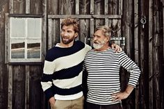 Cool Dad | Cool Grandpa | Love the bold stripes and dark khakis | passing down beards from one generation to the next
