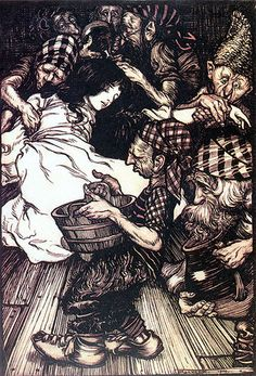 Snow White by Arthur Rackham, most likely drawn shortly after WWI. Love his work. Rackham is widely regarded as one of the leading illustrators from the 'Golden Age' of British book illustration.
