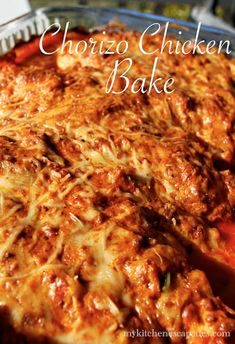 Chorizo Chicken Bake--A powerfully delicious recipe! Chorizo, chicken, cream cheese and diced tomatoes all bake together for a very simple recipe. Chorizo Recipes, Turkey Recipes, Mexican Food Recipes, New Recipes, Chicken Recipes, Cooking Recipes, Favorite Recipes, Chicken Chorizo Recipe, Cooking Chorizo