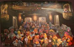 Characters from the Muppets, Sesame Street, Sam and Friends, Labyrinth, Fraggle Rock, Emmet Otter, Musicians of Brehmen, The Dark Crystal, The Frog Prince, Follow that Bird, and more all together in the Muppet Theater! I love this!