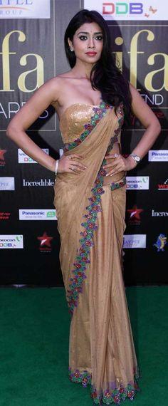 22 Amazing Pics of Shriya Saran in Saree Yellow Saree, Green Saree, Pink Saree, Saree Gown, Net Saree, Saree Blouse, Bridal Makeup Images, Kerala Saree, Blouse Models