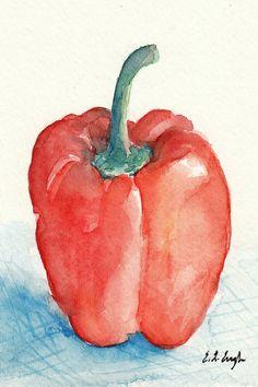 Red Bell Pepper Still Life Art, Original Watercolor Painting, 4x6
