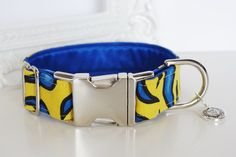 Vibrant Blue Yellow Flames Dog Collar With by TwistedPetDesigns, $23.00
