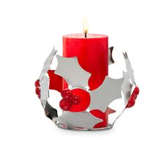 Modern Holly Tealight Holder - Just $15 - Retiring on 12/18/13 so don't miss out! - www.partylite.biz/kfordcandles - #partylite #candles #homedecor #christmas