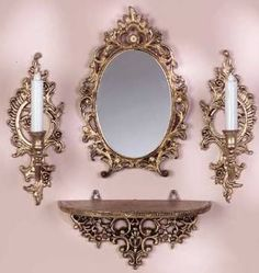 Console murale et ses appliques baroques pinned with Mirror Candle Sconce, Diy Mirror, Mirror Mirror, Luxury Home Furniture, Home Decor Furniture, Entrance Table Decor, Baroque Mirror, Console Furniture, Vintage Photo Frames