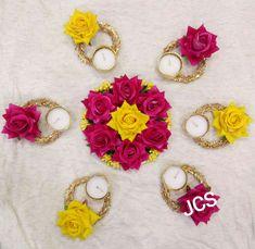 Diya Decoration Ideas, Diy Diwali Decorations, Diwali Diy, Flower Rangoli, T Lights, Band, Flowers, Accessories, Jewelry