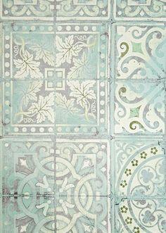 Paper Tiles Wallpaper Aqua, Green and White tiled effect wallpaper.