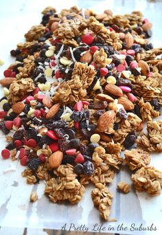 Brown Sugar Baked Granola  Trail Mix - A Pretty Life In The Suburbs