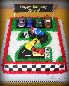 The Cars Birthday Cake Ideas - Share this image!Save these the cars birthday cake ideas for later by share this image, and Race Car Birthday, Disney Cars Birthday, Birthday Fun, Cake Birthday, Fruit Birthday, Birthday Ideas, Birthday Cakes For Boys, Disney Cars Cake, Car Themed Parties