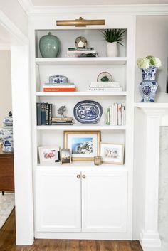 Bookshelves Around Fireplace Styling Bookshelves Around Fireplace, Built In Around Fireplace, Fireplace Built Ins, Fireplace Ideas, Living Room Shelves, Living Room Furniture, Living Room Decor, Book Furniture, Furniture Design